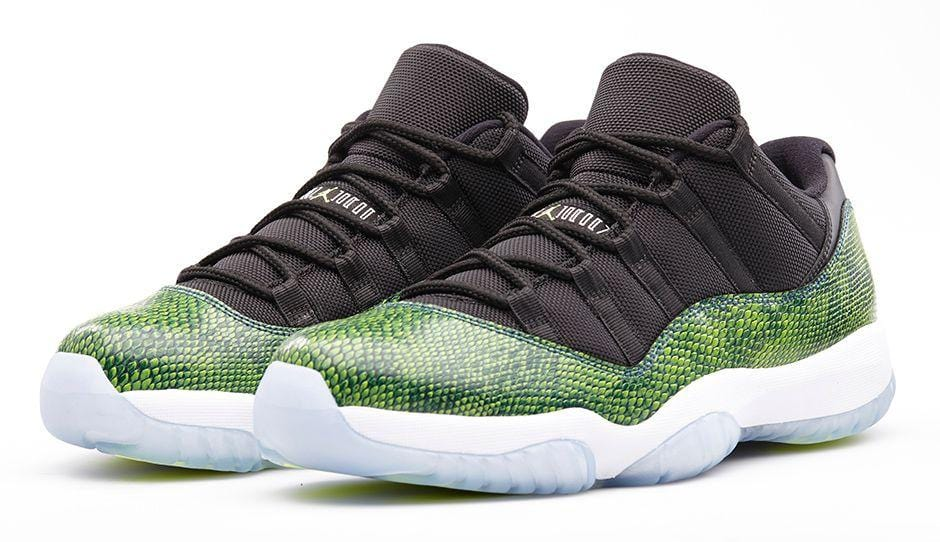 cheaper 7687d ba87c Air Jordan 11 Low Green Snakeskin