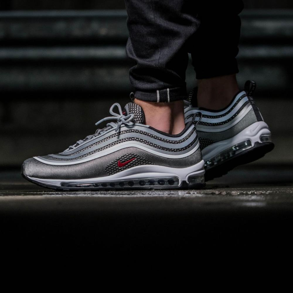 Nike Air Max 97 Ultra 17 Metallic Silver, Varsity Red