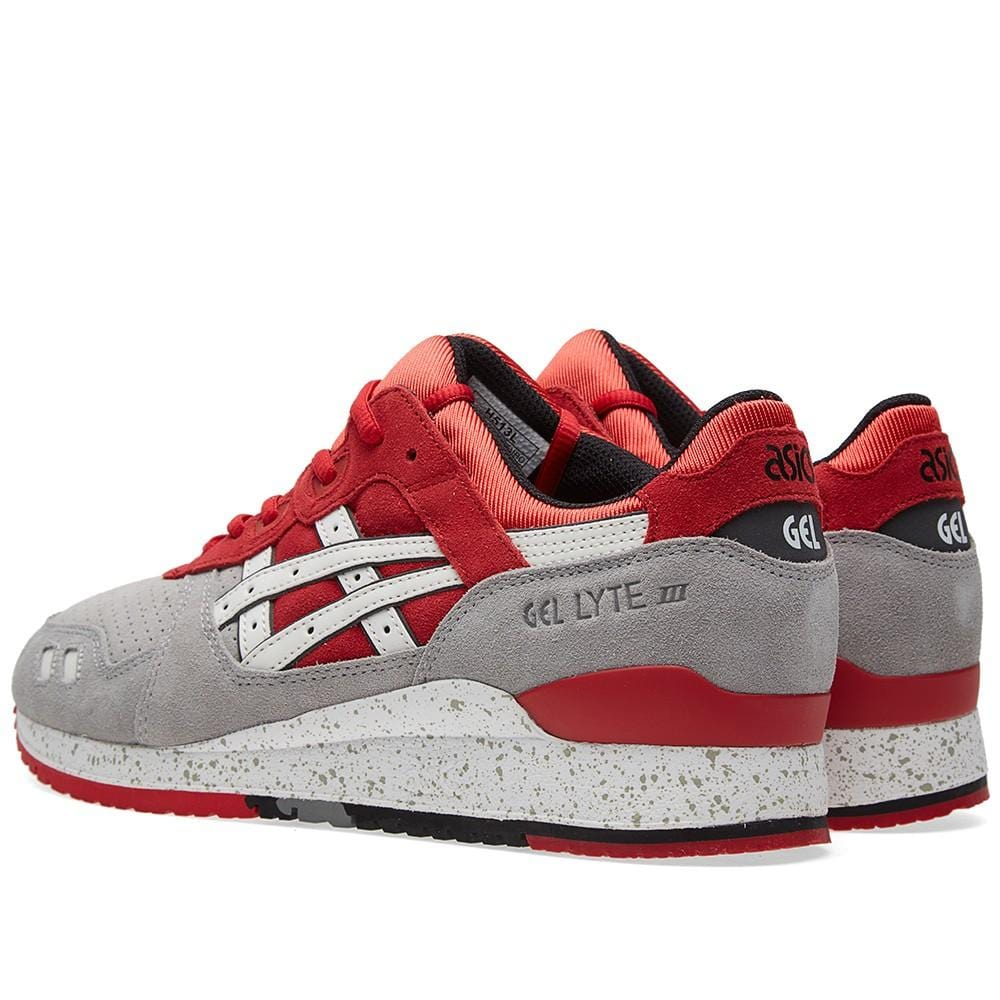ASICS GEL LYTE III 'CRANE' Light Grey & Red - Kick Game