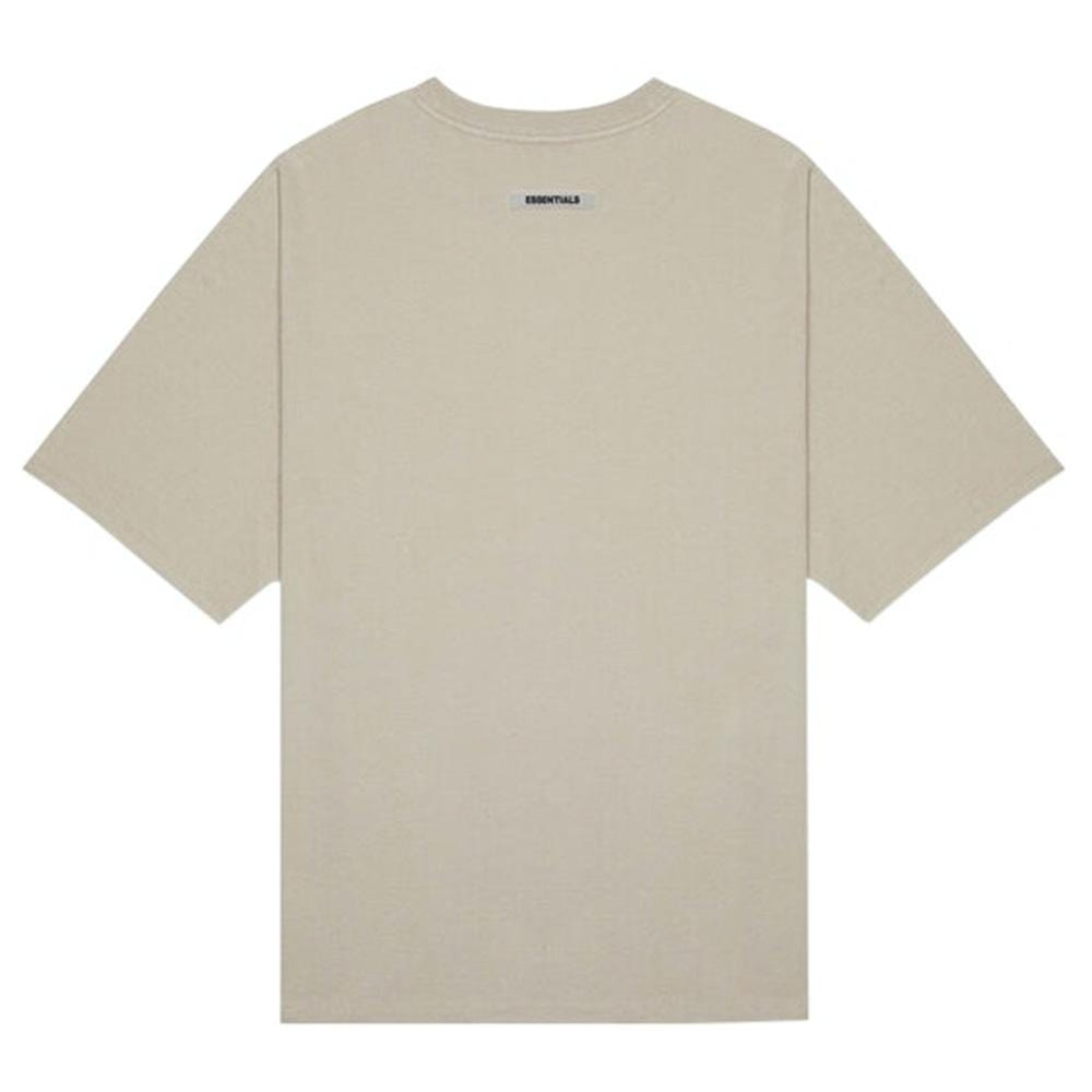 FEAR OF GOD ESSENTIALS 3D Silicon Applique Boxy T-Shirt Oatmeal Heather/String/Tan - Kick Game