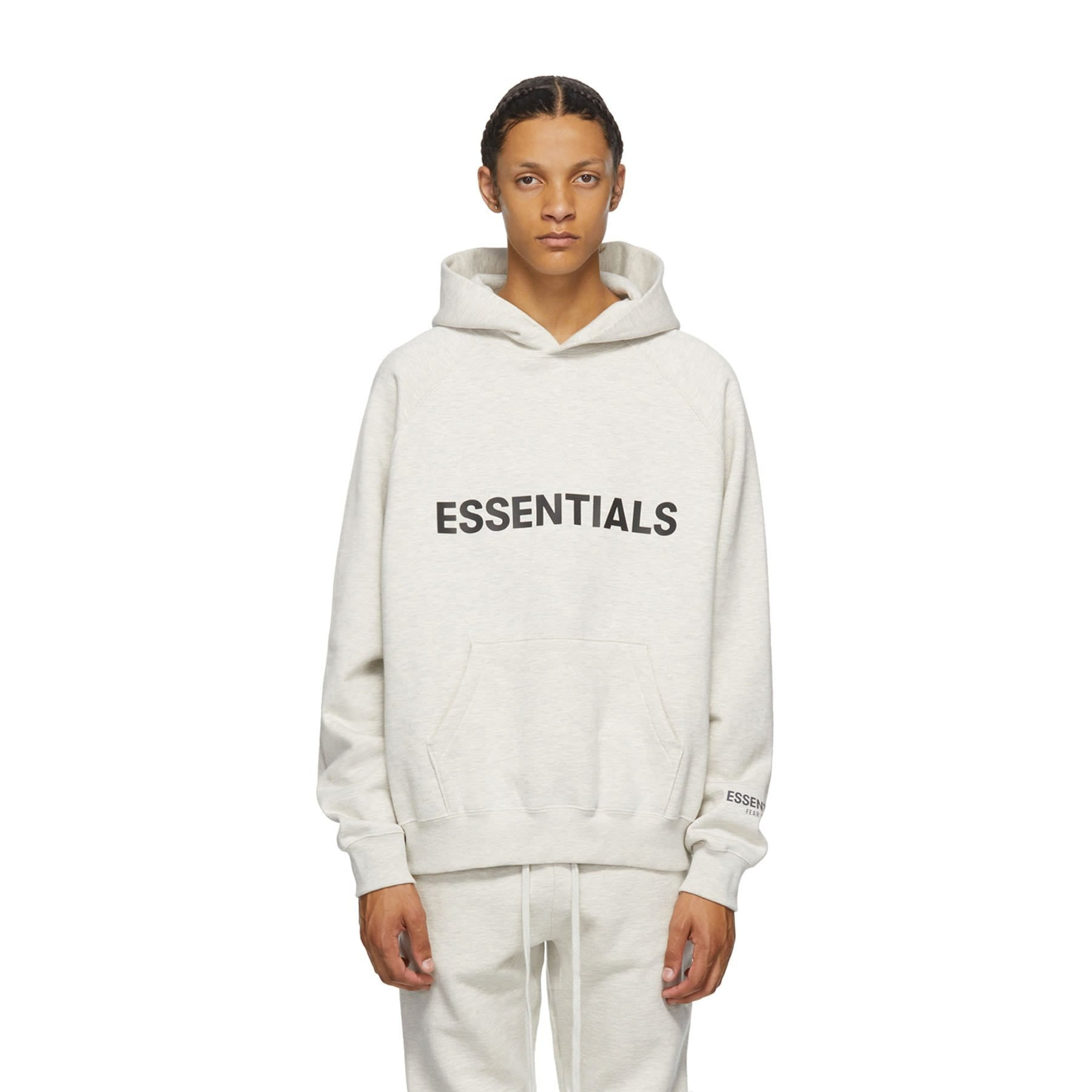 FEAR OF GOD ESSENTIALS 3D Silicon Applique Pullover Hoodie Heather Oatmeal - Kick Game