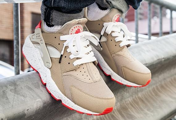 Nike Air Huarache 'Light Beige & Laser Crimson' - Kick Game