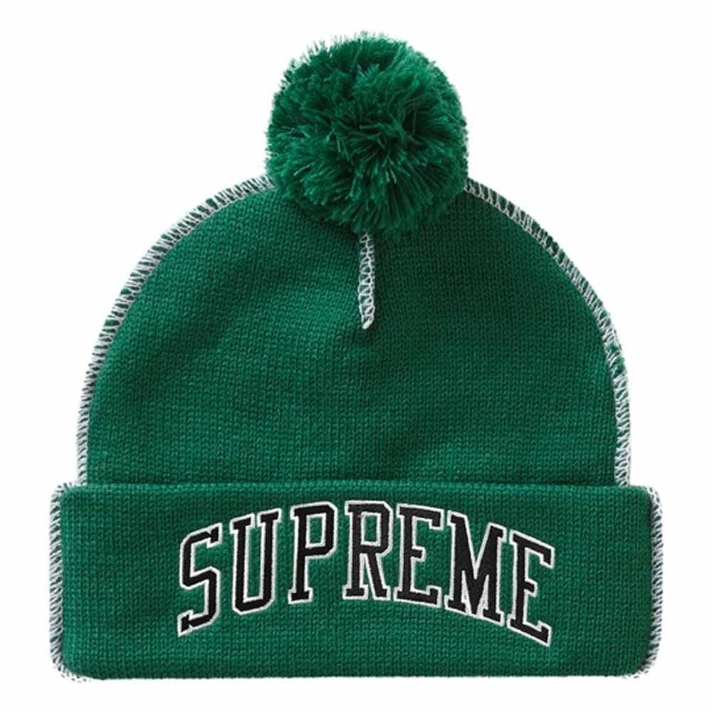 Supreme Contrast Stitch Beanie Green - Kick Game