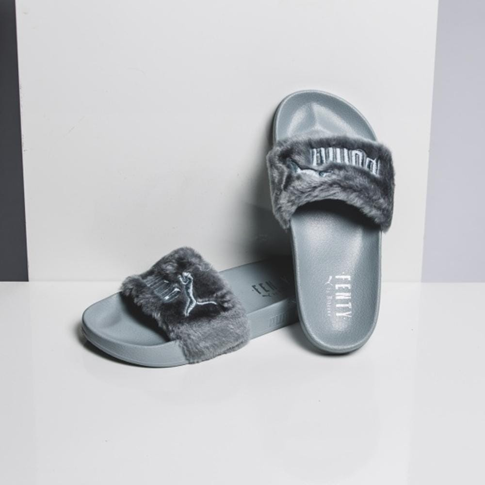 on sale a4001 01b60 Puma Leadcat Fenty Fur Slide Quarry by Rihanna