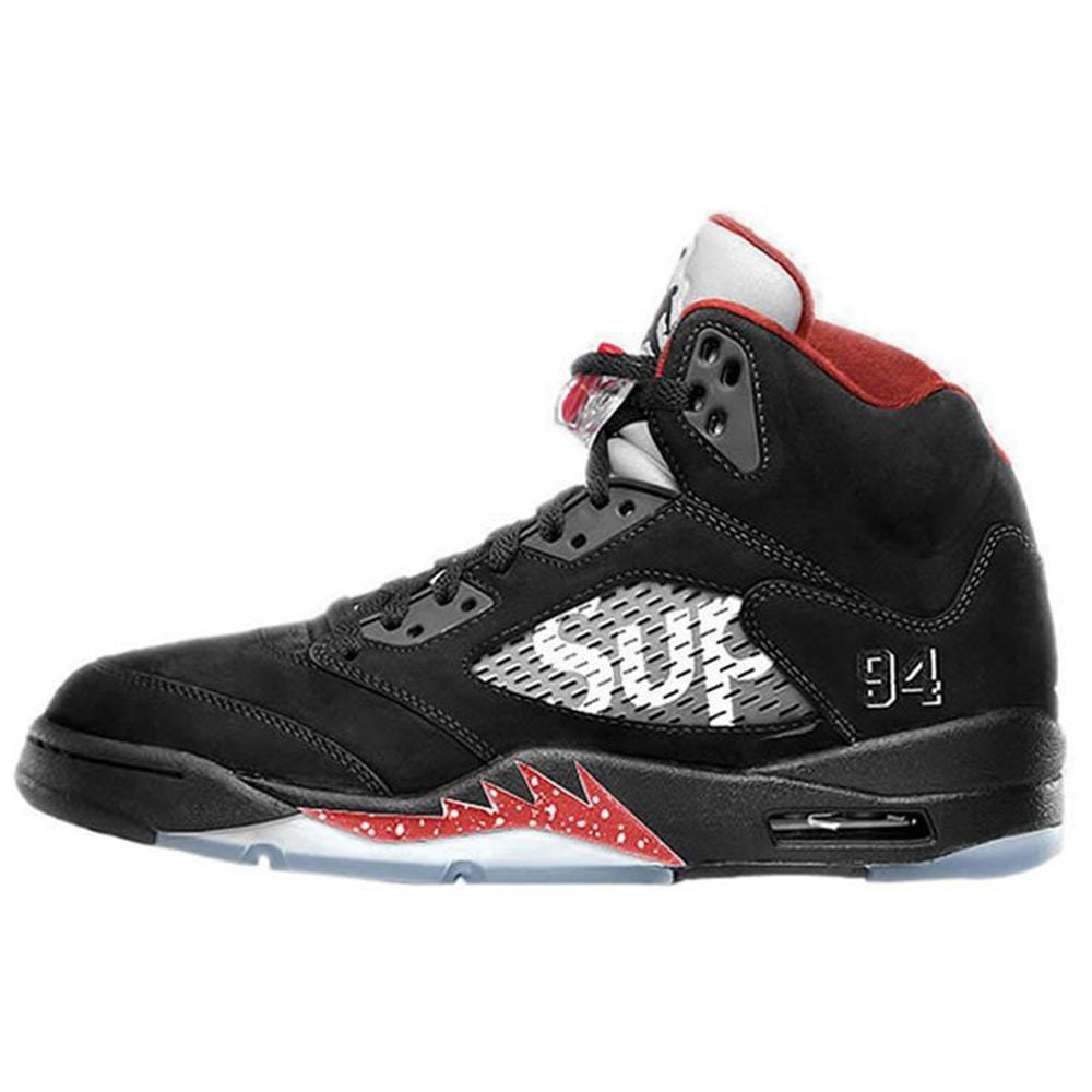 "AIR JORDAN 5 RETRO SUPREME ""SUPREME"" Black - Kick Game"