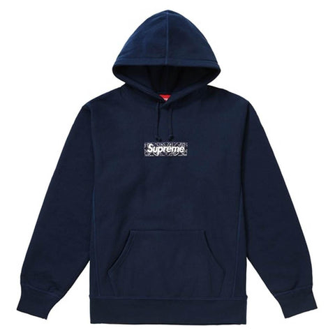 Supreme Bandana Box Logo Hooded Sweatshirt Navy - Kick Game