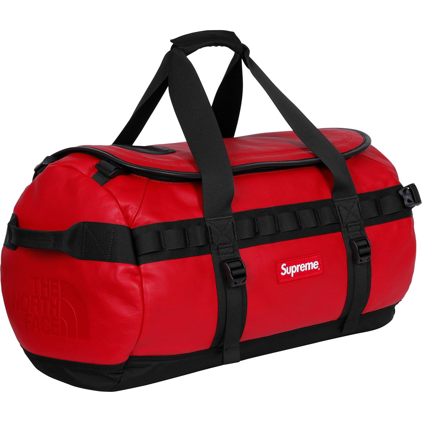 Supreme-The North Face Leather Base Camp Duffel - Red - Kick Game