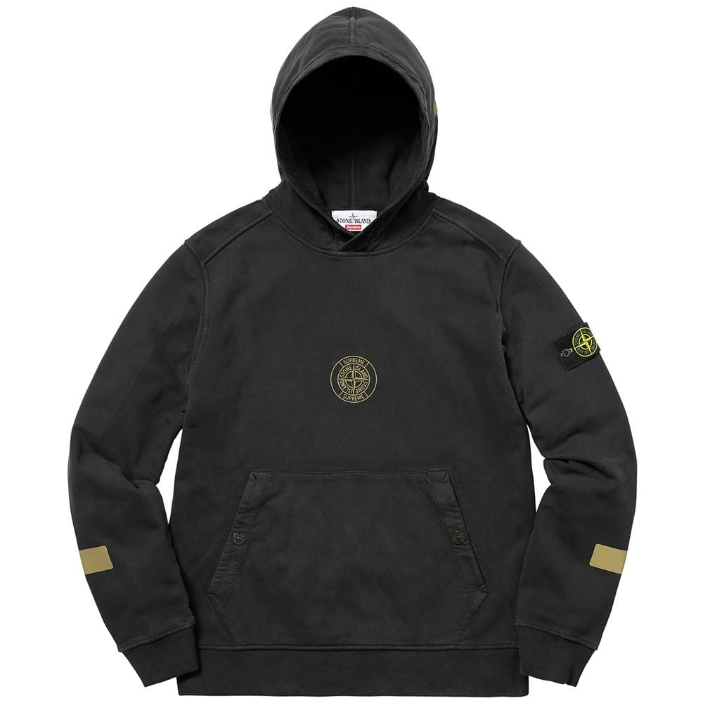 Supreme-Stone Island Hooded Sweatshirt - Black - Kick Game