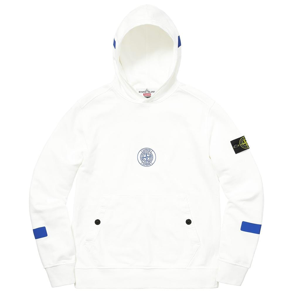 Supreme-Stone Island Hooded Sweatshirt - White - Kick Game