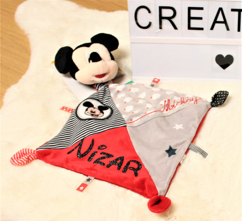 Doudou Disney© + Attache + Tétine (Mickey,Minnie...) - Sam Création Collection