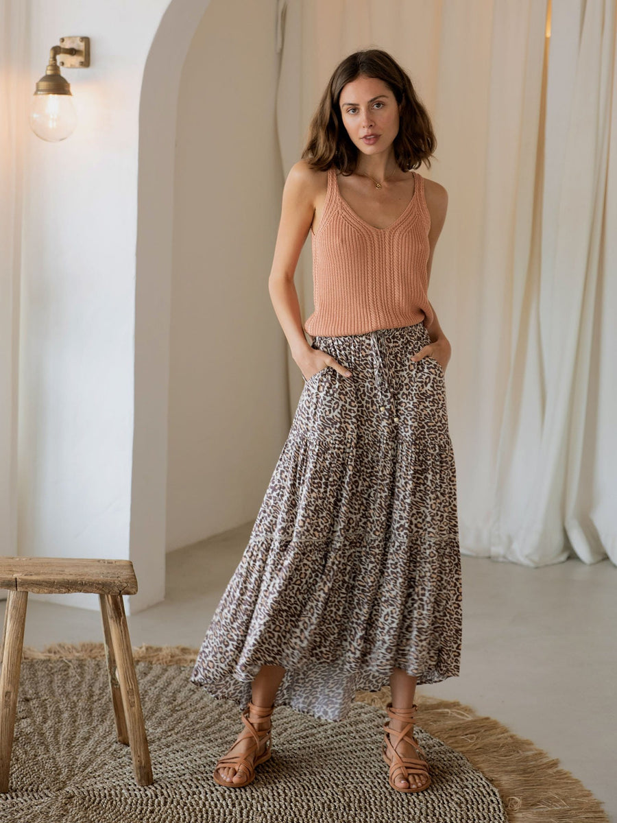Alena Leopard Maxi Skirt - Final Sale