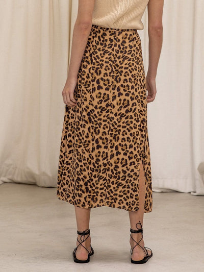 Hazel Leopard Slip Midi Skirt - Final Sale