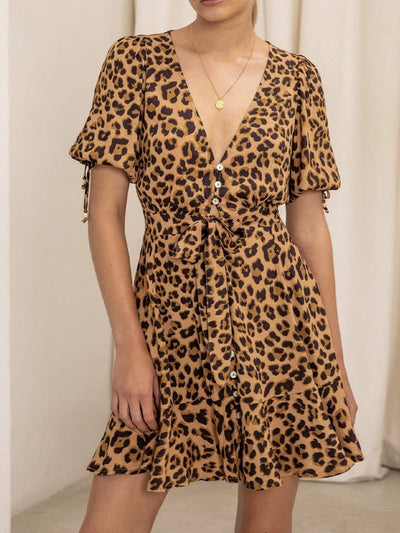 Hazel Leopard Tie Front Mini Dress
