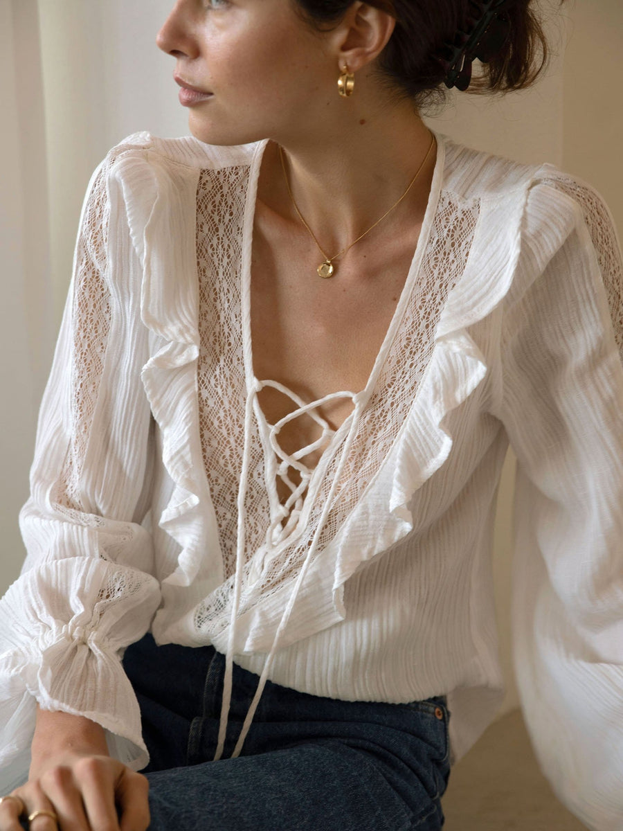 Juanita Blouse - White - Final Sale