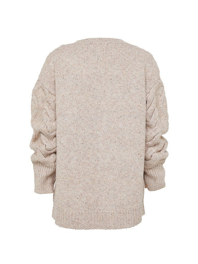 Bella Cable Knit Jumper - Oatmeal
