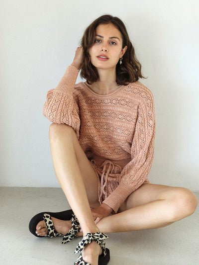 Mia Knitted Short - Rose