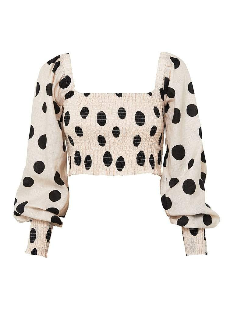 Rammy Polka Shirred Top