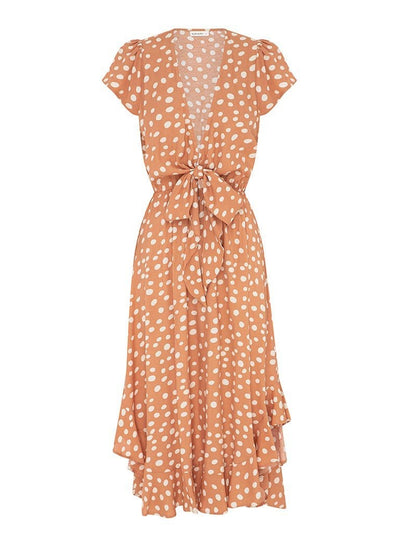 Nora Polka Tie Front Midi Dress