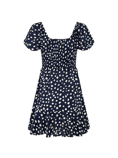 Victoria Polka Shirred Mini Dress