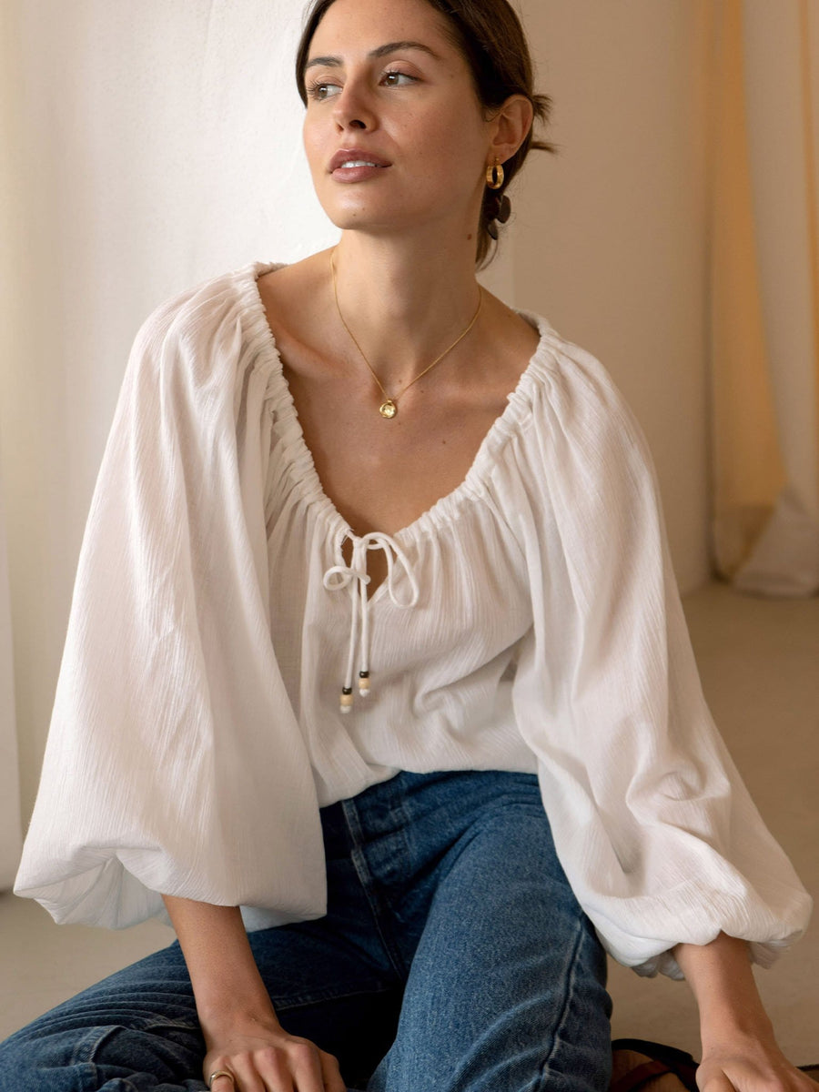 Willow Blouse - White - Final Sale
