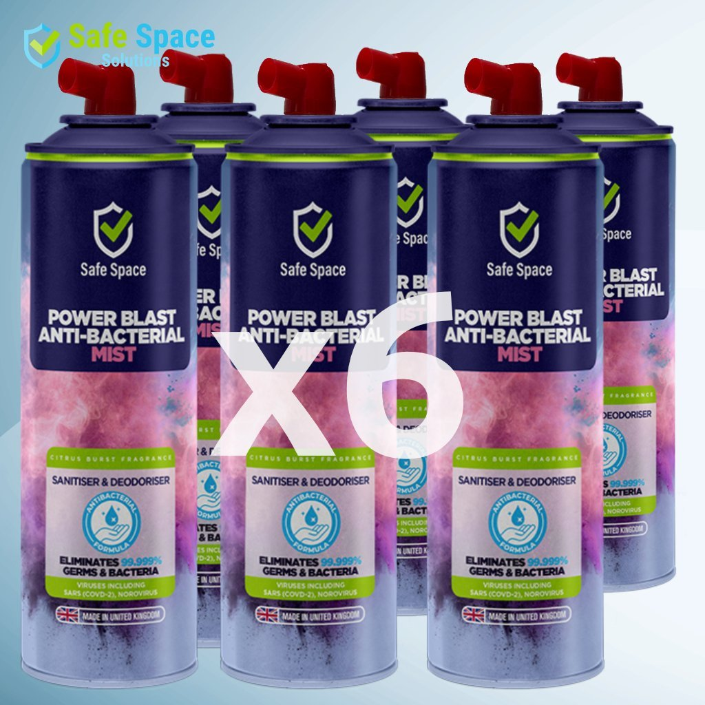 "Six Pack: Safe Space ""Power Blast"" Air and Surface Sanitiser and Deodoriser - 750ml"