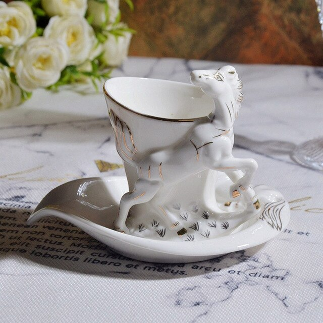 3D Beautiful embossed horse Mug with dish Porcelain