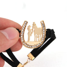 Load image into Gallery viewer, girl and horse Horseshoe bracelet