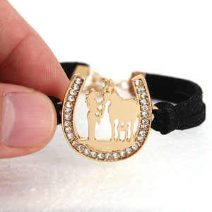 girl and horse Horseshoe bracelet