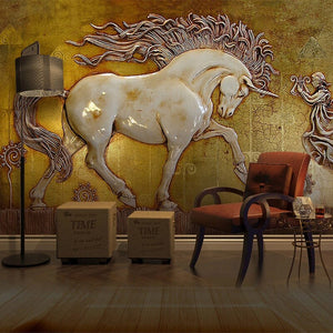3D Stereoscopic Horse Art Wall Wallpaper