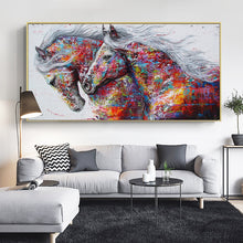 Load image into Gallery viewer, Two colorful Running Horses painting