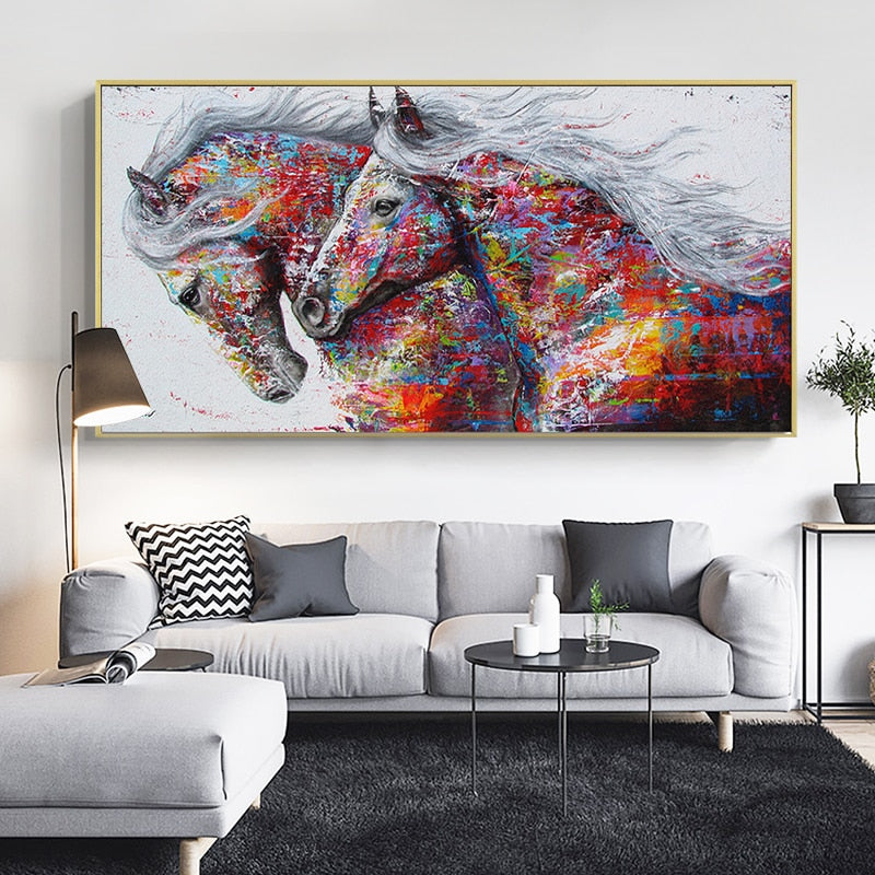 Two colorful Running Horses painting