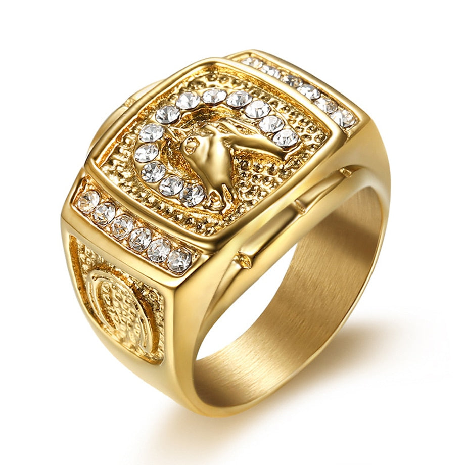 Stainless Steel Gold horse ring