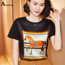 Load image into Gallery viewer, Silk Black Elegant Horse T-shirt