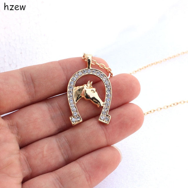 Cute Crystal Horse Necklace