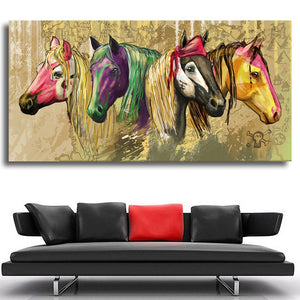 Horse colorful heads oil painting