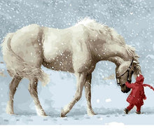 Load image into Gallery viewer, Snow Horse Painting By Numbers