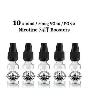 10 x 10ml / 20mg VG 10 / PG 90 Nicotine SALT Boosters - Premium E-Liquids & More