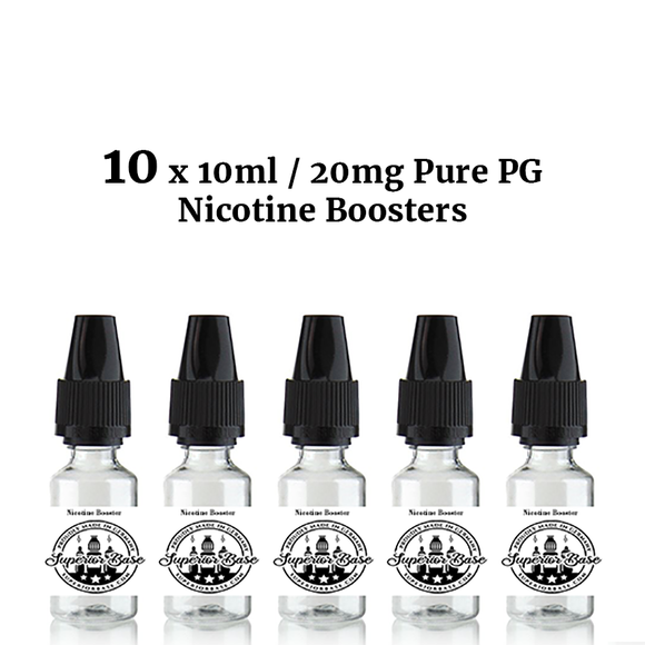 10 x 10ml / 20mg Pure PG Nicotine Boosters - Premium E-Liquids & More