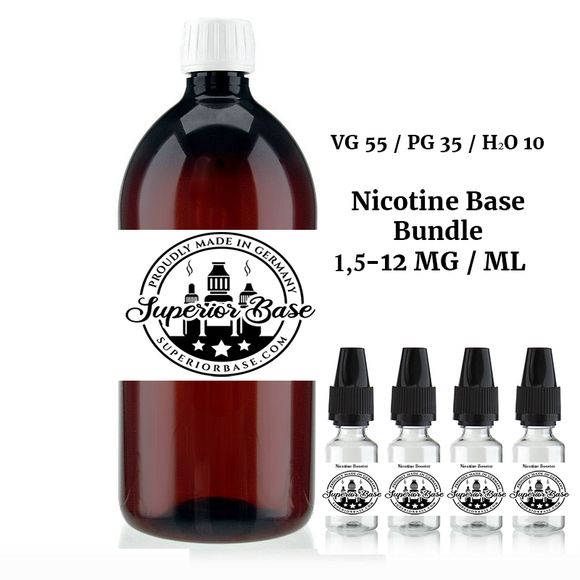 VG 55 / PG 35 / H₂O 10 Nicotine Base Bundle 1,5-12 MG / ML - Premium E-Liquids & More