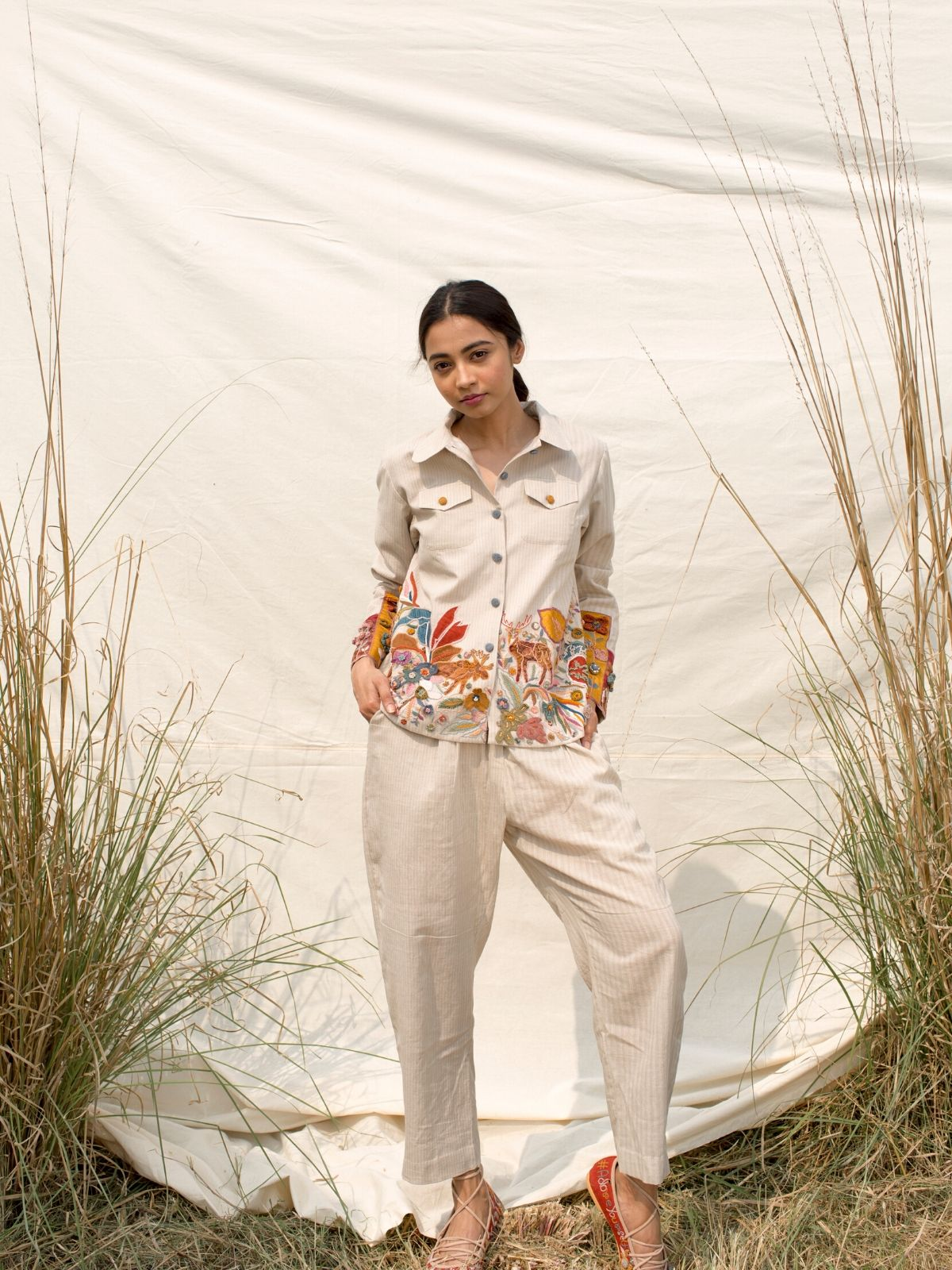 Hand embroidered Shirt jacket & Pant