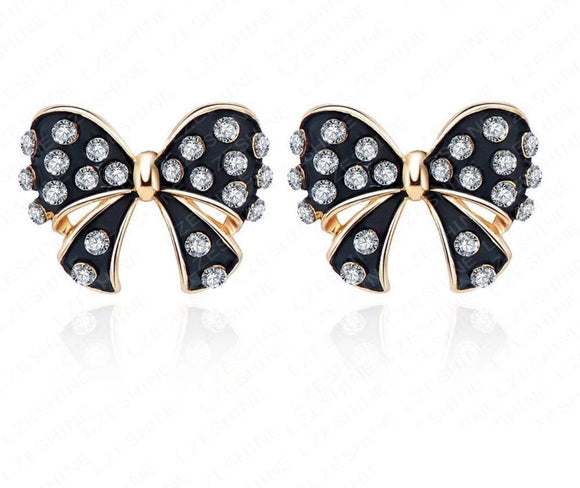 Black and white bow earrings