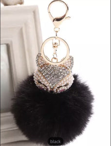 Black foxy eyelash bag charm keychain