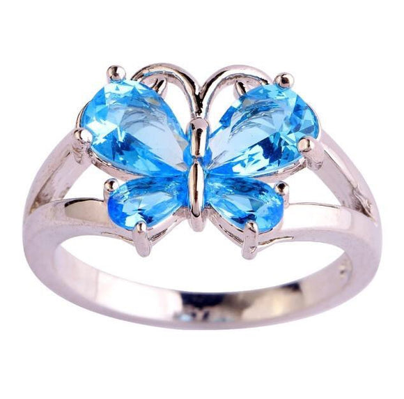 Blue stone butterfly ring