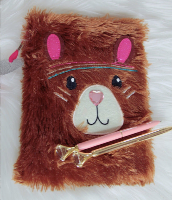 Brown fuzzy teddy bear notebook