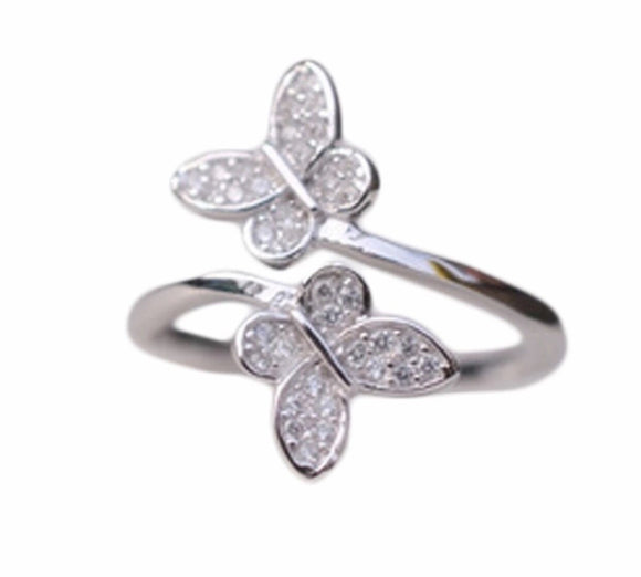 Infinity double butterfly ring