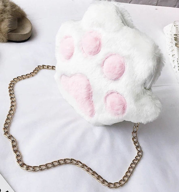 Cat Paw white pink fashion purse