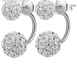 Double crystal rhinestone earrings