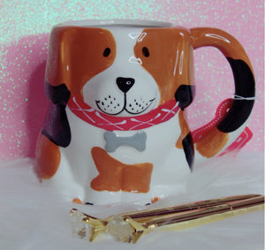 Orange white dog mug