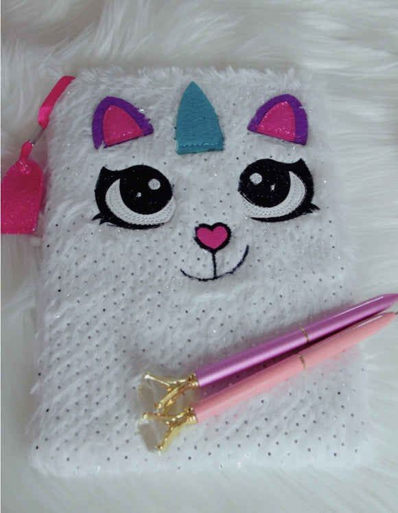 Unicorn cat fuzzy notebook