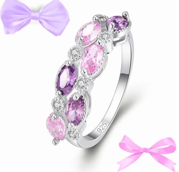 Pink lilac fashion ring
